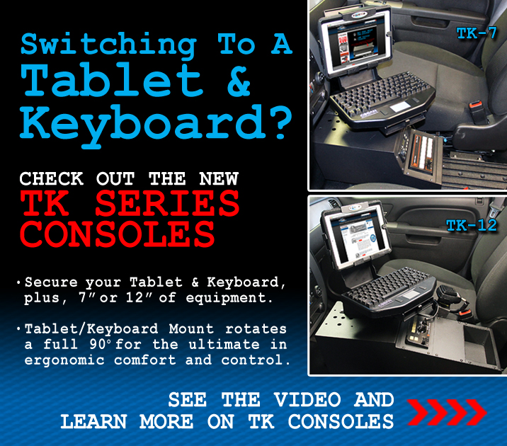 Introducing the Jotto Desk TK Series Consoles for Tablet and Keyboard setups in Public Safety Vehicles.